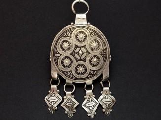 Old silver niello round Berber pendant