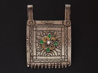 Old Berber silver niello and enamel pendant