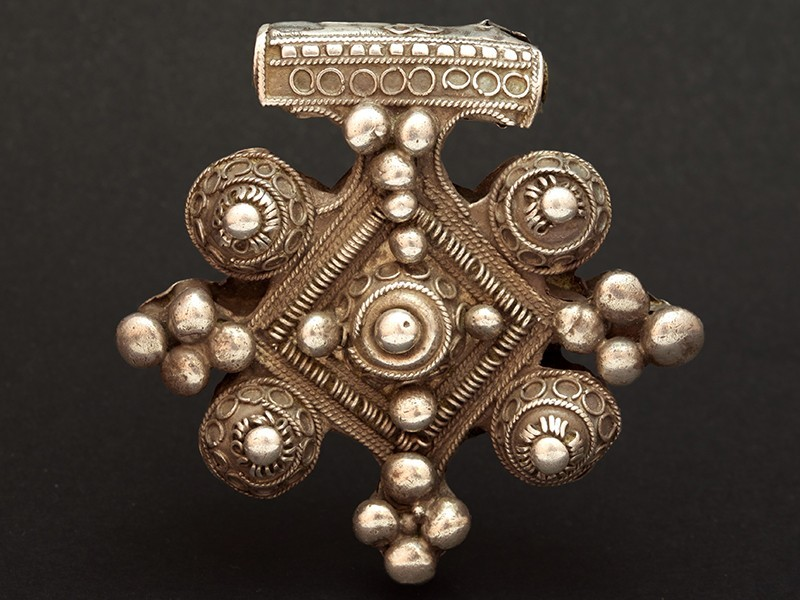 Pendant. Old Berber silver cross talisman
