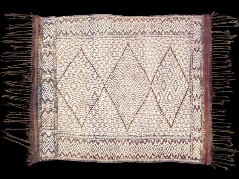 Azrou hanbel wool cotton rug vintage