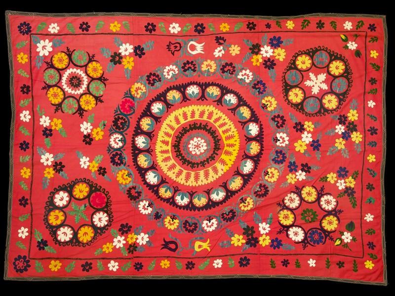 Suzani. Uzbek embroidered silk cover