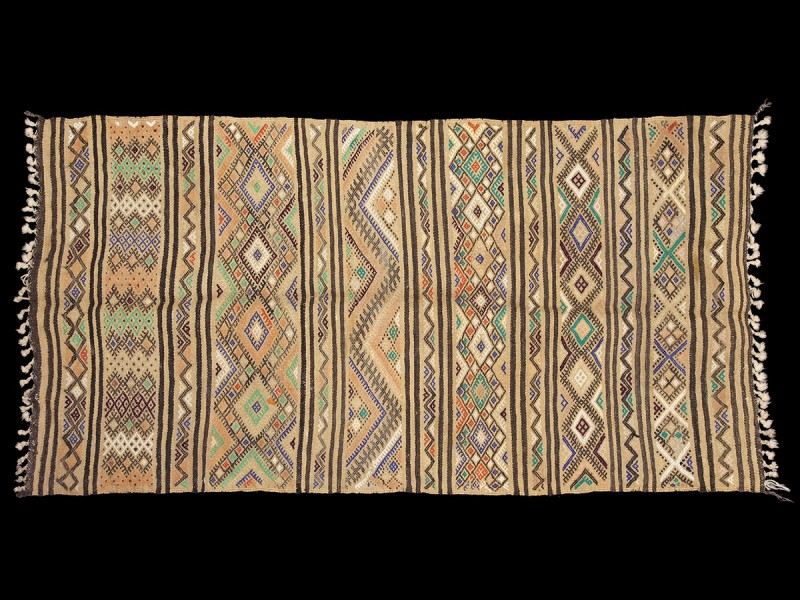 Berber Marmoucha palm fiber and wool mat