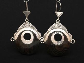 Tuareg silver and ebony earrings