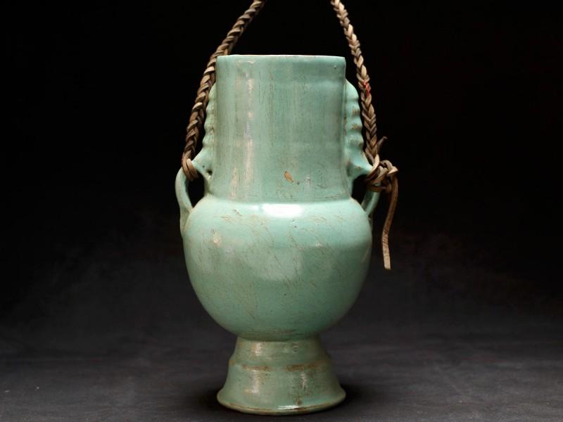Fez. Vasija cerámica esmaltada verde (M) .