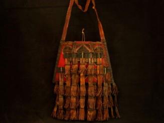 Old Tuareg leather fringe bag