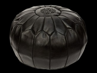High leather pouf (round)