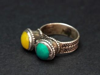 Anillo Kuchi plata resina turquesa vintage