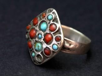 Anillo Kuchi plata coral turquesa vintage