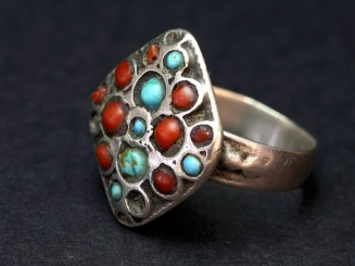 Silver turquoise coral Kuchi vintage ring