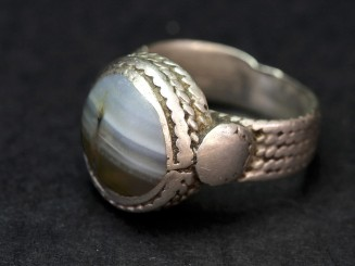 Old silver banded agate ring