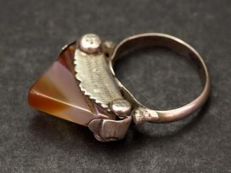 Old Tuareg silver and cornaline ring (tisek)