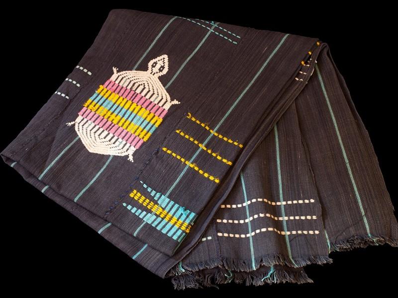 Embroided vintage indigo cloth.