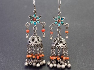 Old silver and coral earrings