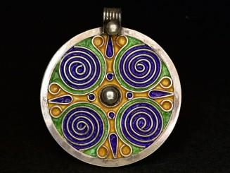 Round silver enamel Berber...