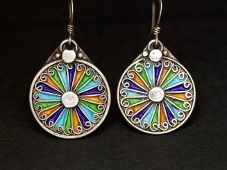 Silver and enamel Berber earrings