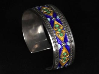 Berber silver enamel bracelet