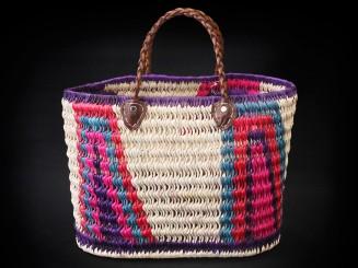Artisan raffia shopping basket