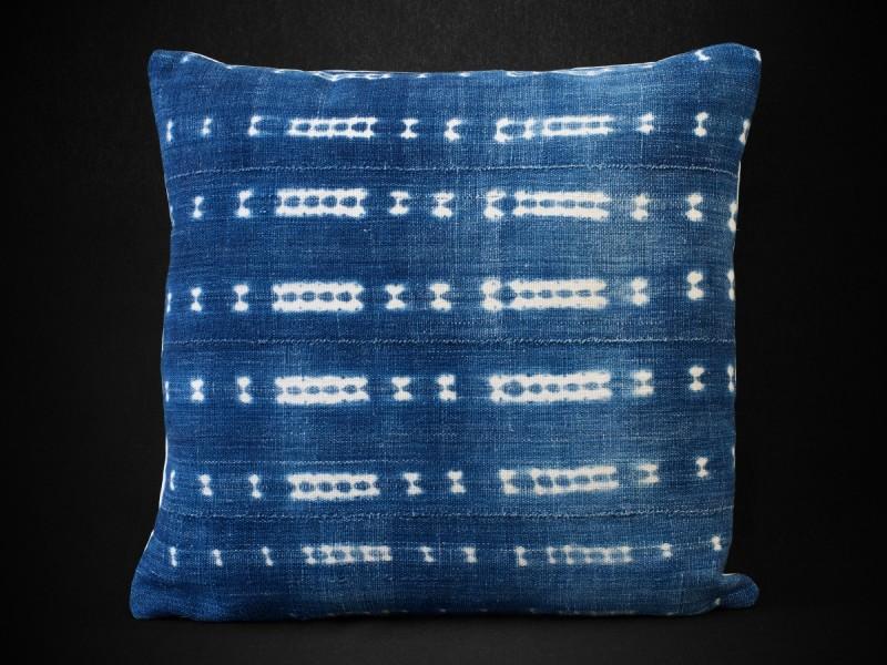 Vintage indigo bogolan cushion