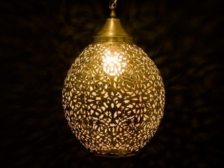 Open copper oval ceiling lamp