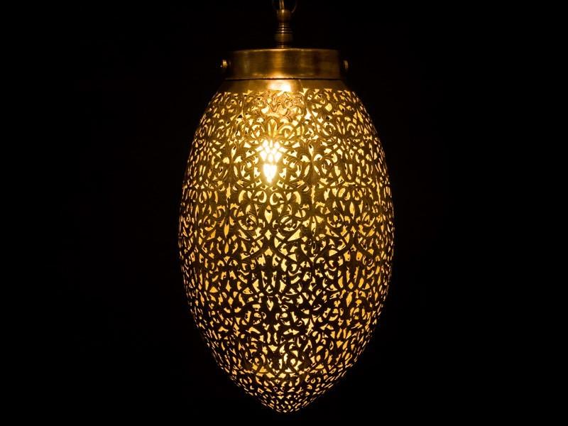 Lámpara cobre aserrado oval cerrada (M)