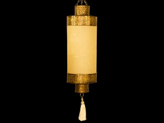 Paper shade copper step lantern