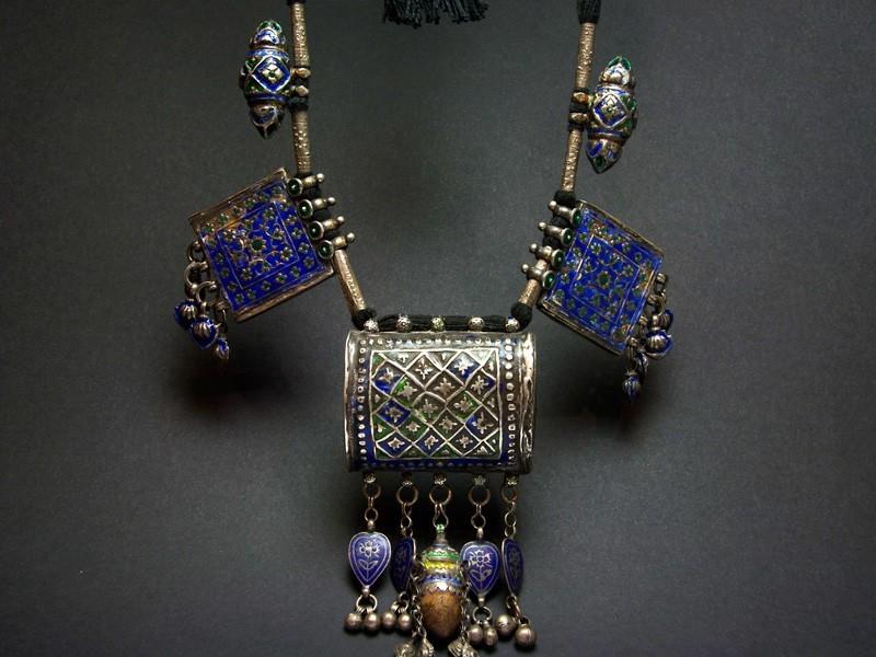 Multan/Sindhi enamelled plaques beads necklace