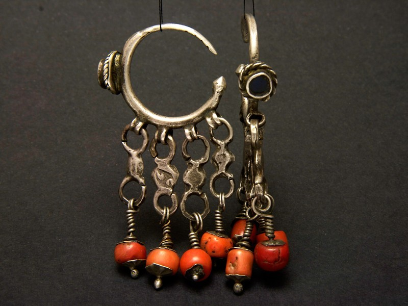 Silver and coral Berber hoops