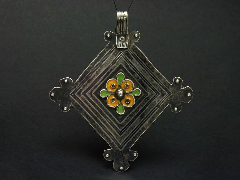 Berber silver and enamel pendant