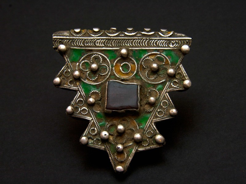 Hirz. Old Berber silver and enamel talisman pendant.