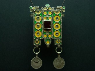 Hirz. Berber silver and enamel talisman pendant.