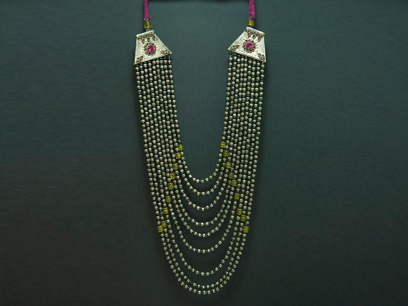 Kuchi nine silver and glass strands necklace