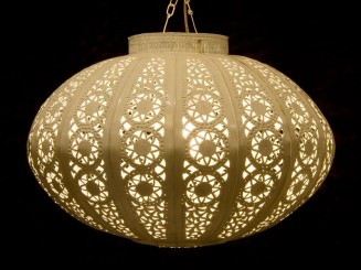 Moroccan painted plate ball lantern