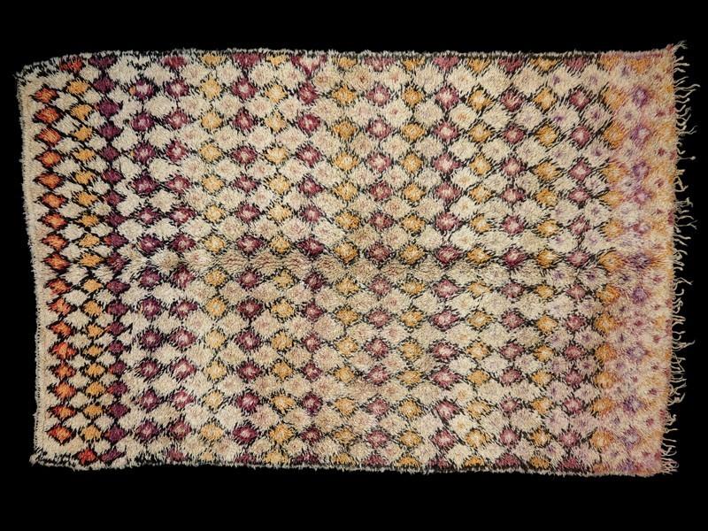 Alfombra nudo lana Beni Ouaraïn rombos color