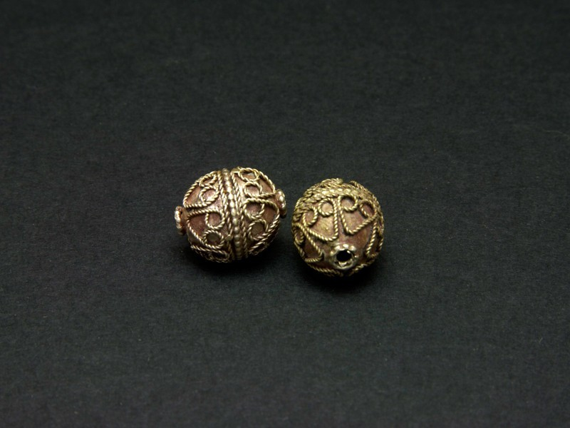 Afghan old silver globe beads