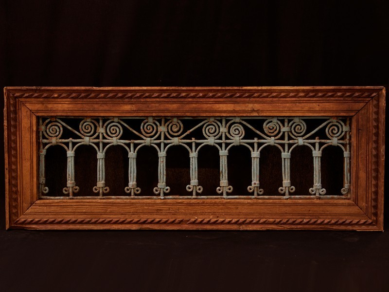 Moroccan old cedarwood wrought iron grille