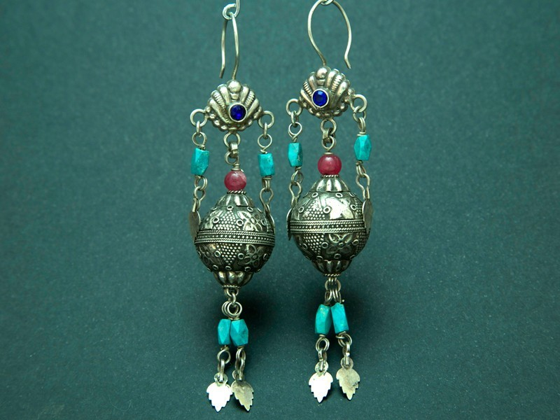 Afghan silver and beads earrings