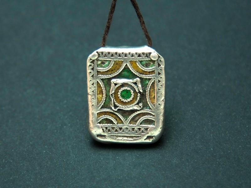 Hirz. Berber silver enamel talisman pendant.