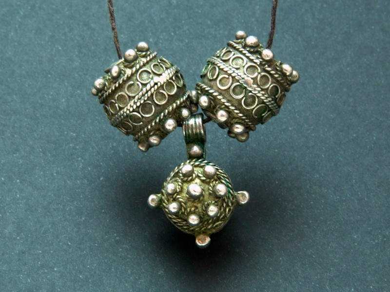 Berber old silver beads