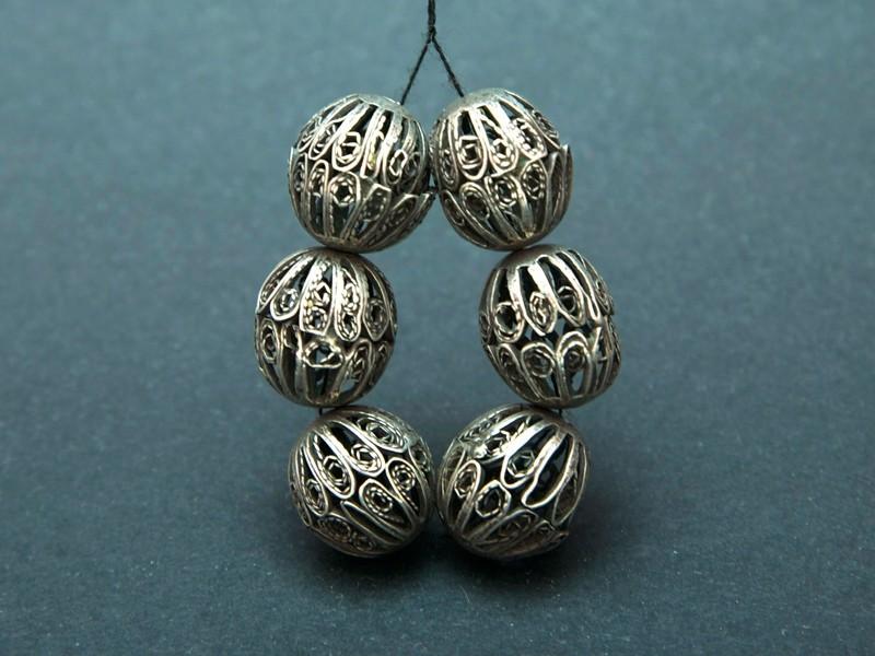 Berber silver filigree beads