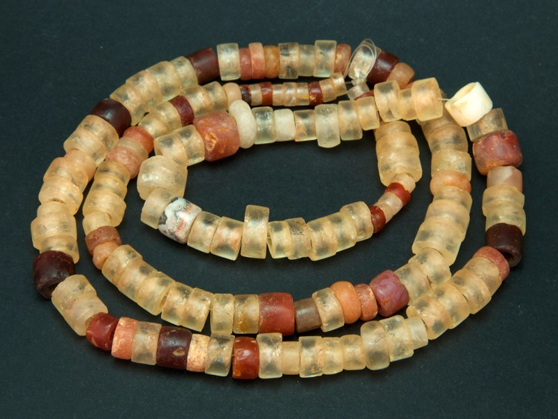 Strand of African antique carnelian beads
