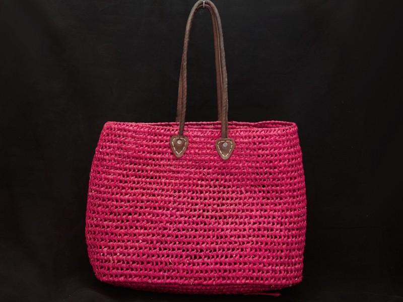 Artisan raffia shopping basket (L)