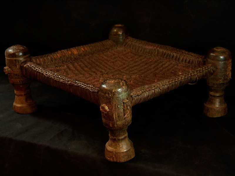 Swat. Wood and leather old stool