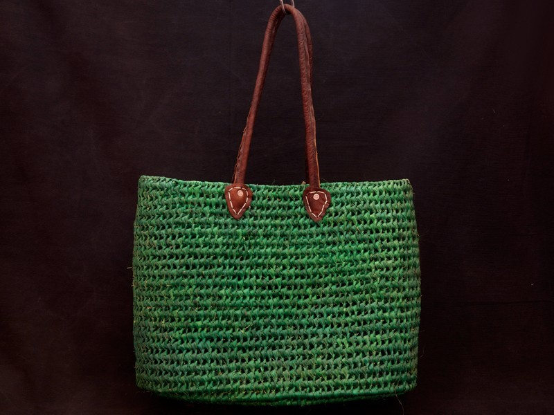Artisan raffia shopping basket (M)