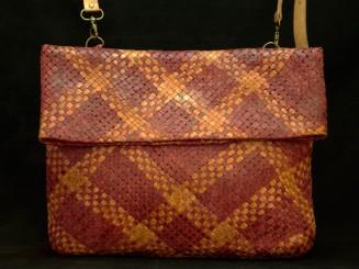 Braided leather handbag