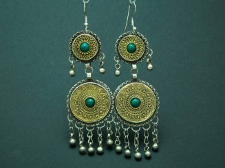 Afghan gilder silver and turquoise earrings