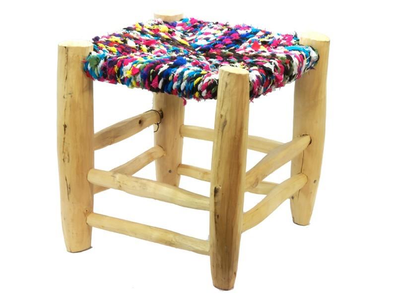 Wood rags stool (low)