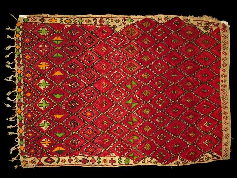 Zaïan. Palm fibre and wool mat vintage.