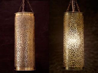 Copper openwork tube lamp