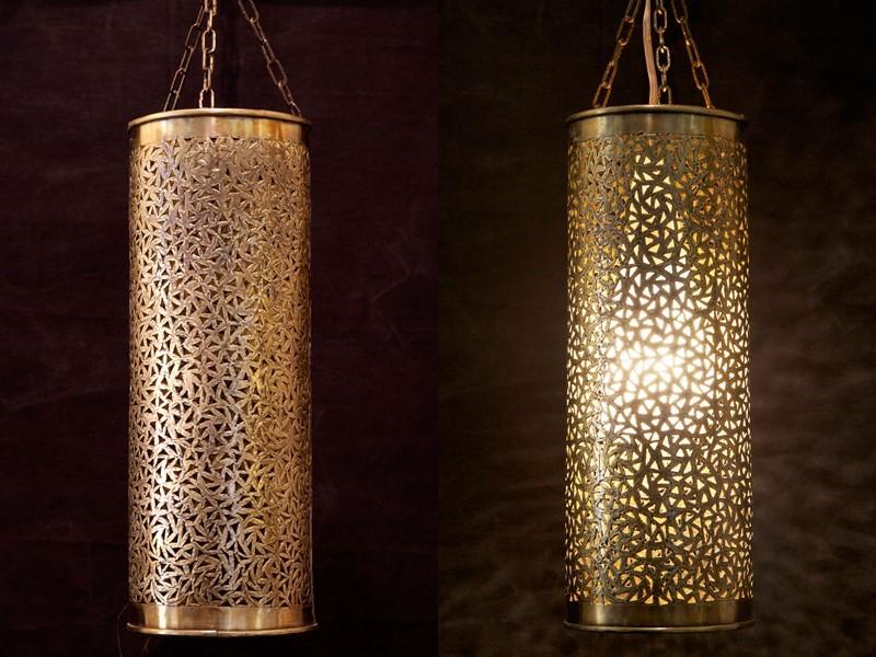 Lámpara tubo cobre troquelado