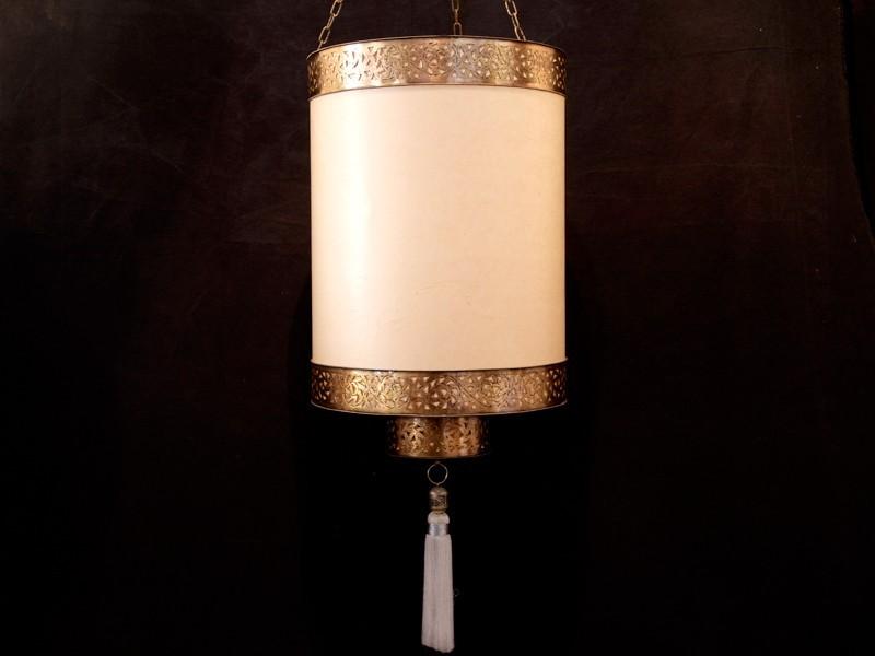 Lámpara cobre papel jawat abierta